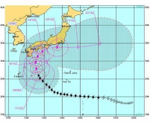 アメリカ海軍の台風進路予想図