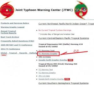 米軍の台風情報の使い方