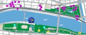 隅田川花火大会の地図