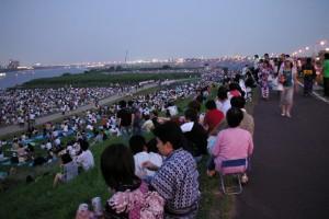 江戸川花火大会の混雑