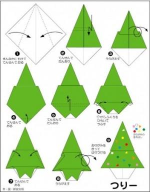 折り紙でのクリスマスツリーの作り方