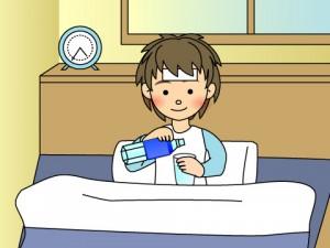 風邪の時の布団での水分補給